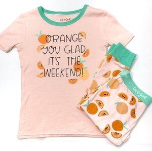 CAT & JACK Orange You Glad Sleepwear Set Pants 8